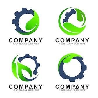 Plantillas de logotipo industrial, engranaje con logotipo de hoja.
