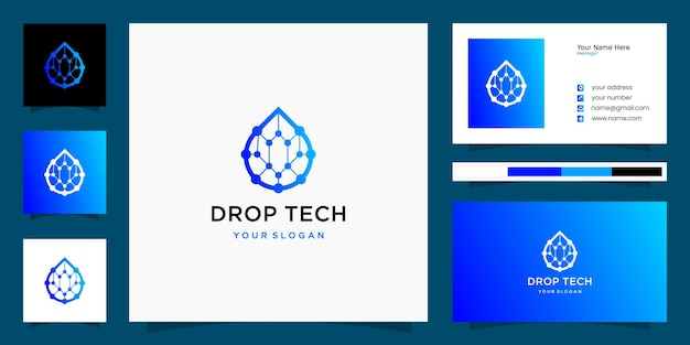 Plantillas de logotipo y tarjeta de presentación de droplets tech inspiration