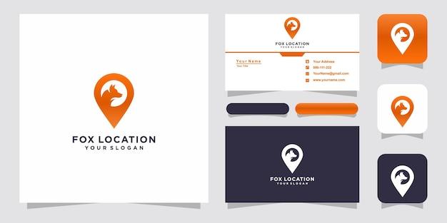 Plantillas de logotipo de ubicación de zorro y diseño de tarjetas de visita