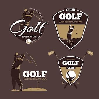 Plantillas de logotipo de vector de club de campo de golf. deporte con etiqueta de pelota, ilustración de juego de iconos