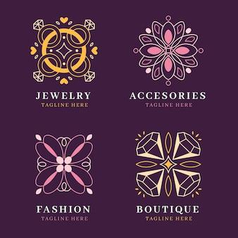 Plantillas de logotipos de accesorios de moda planos