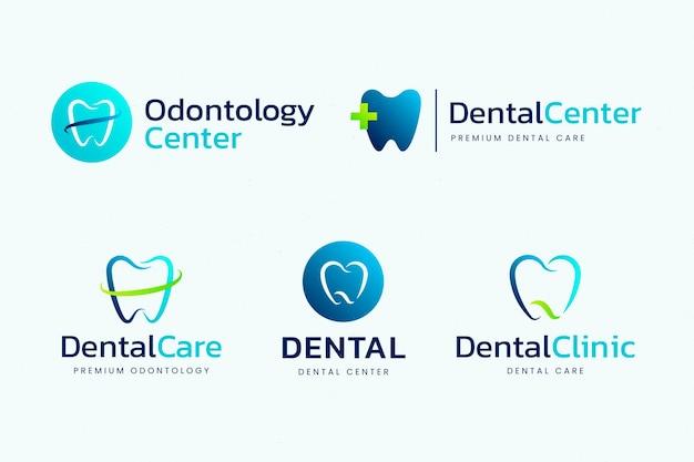 Plantillas de logotipos dentales de diseño plano