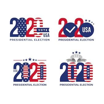 Plantillas de logotipos de elecciones presidenciales de ee. uu. 2020