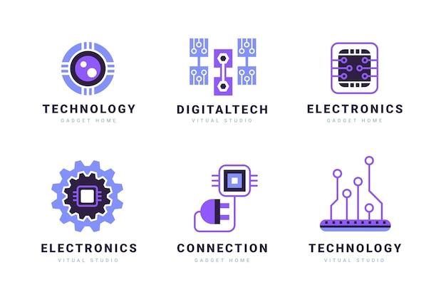 Plantillas de logotipos de electrónica plana