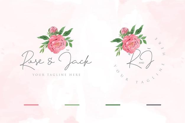 Plantillas de logotipos florales en acuarela