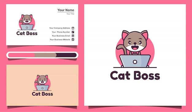 Plantillas de logotipos de gatos lindos que juegan computadoras portátiles y plantillas de tarjetas de visita
