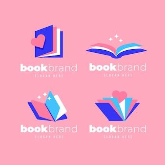 Plantillas de logotipos de libros de diseño plano