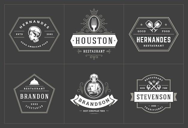 Las plantillas de logotipos de restaurantes establecen una buena ilustración para las etiquetas del menú y las insignias de los cafés