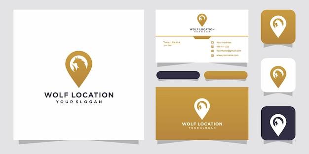 Plantillas de logotipos de ubicación de lobo y diseño de tarjetas de presentación