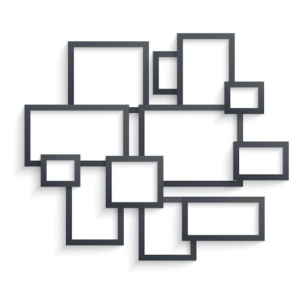 Plantillas de marco de imagen de pared aisladas sobre fondo blanco