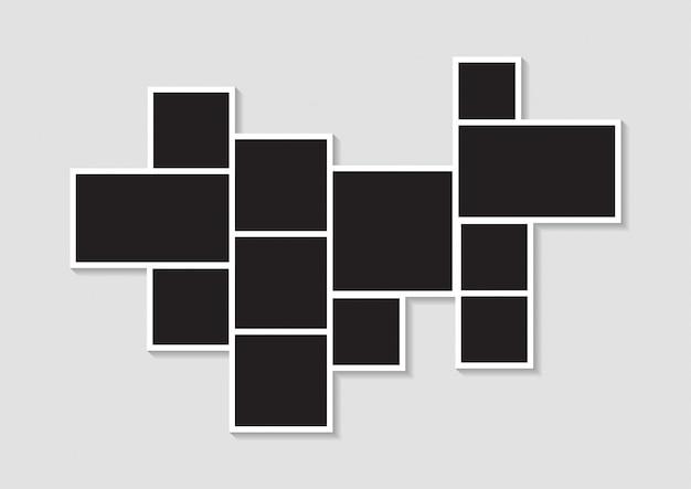 Plantillas de marcos de imagen de collage de fotos para montaje fotográfico o fotográfico