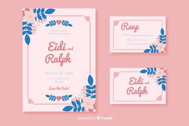 Plantillas de material de papelería de boda en diseño plano