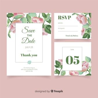 Plantillas de material de papelería de boda estilo acuarela