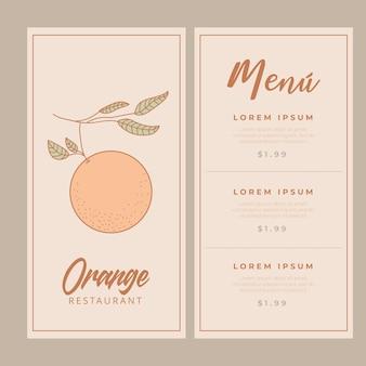 Plantillas de menú de restaurante con diseño de fruta naranja.