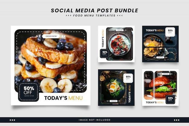 Plantillas minimalistas de redes sociales de menú de comida en blanco y negro