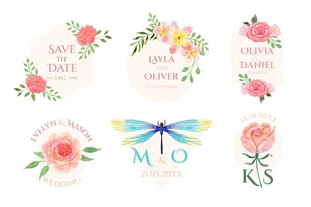 Plantillas de monogramas de boda pintados