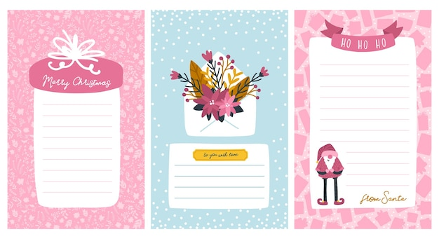 Plantillas navideñas para listas y cartas de santa. marco para texto con una regla. ilustración de personaje lindo