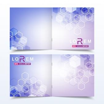 Plantillas de negocio cuadrado folleto, revista, folleto, volante, portada, folleto, informe anual. concepto científico de medicina, tecnología, química. estructura de la molécula hexagonal. adn, átomo, neuronas.