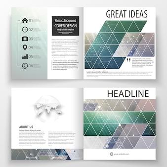 Plantillas de negocio para diseño cuadrado bi-fold brochure.