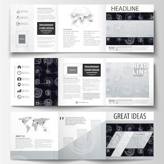 Plantillas de negocio para folletos cuadrados tri-fold.