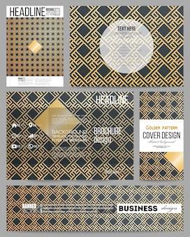 Plantillas de negocio para presentación, folleto, flyer o folleto. patrón de oro islámico