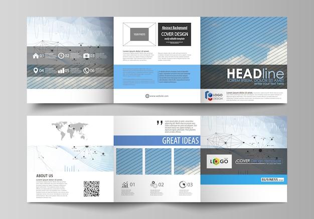 Plantillas de negocio para trípticos de diseño de folletos cuadrados.