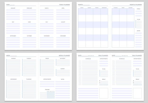 Plantillas de páginas de nota de planificador.
