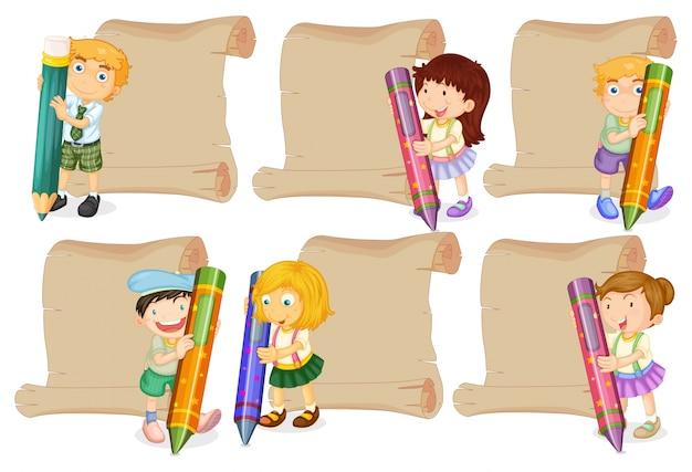 Plantillas de papel con niños sosteniendo lápices de colores