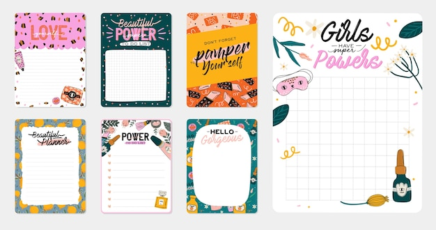 Plantillas de pegatinas decoradas con lindas ilustraciones de cosméticos de belleza y letras de moda. programador u organizador de moda. plano