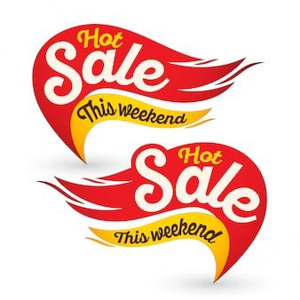 Plantillas de pegatinas de etiquetas de vector de venta de fuego caliente