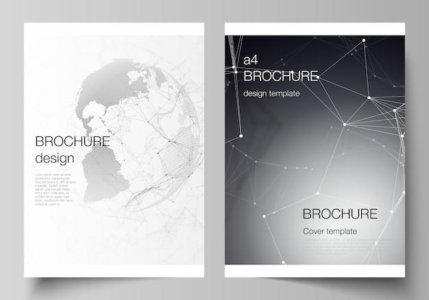 Plantillas de portada en formato a4 para folleto, futurista con globo terráqueo