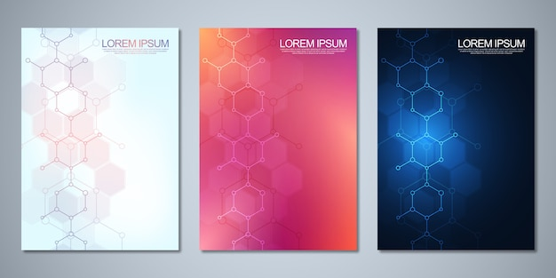 Plantillas para portada o folleto con fondo molecular abstracto. conceptos e ideas para medicina, tecnología sanitaria, medicina innovadora, ciencia.
