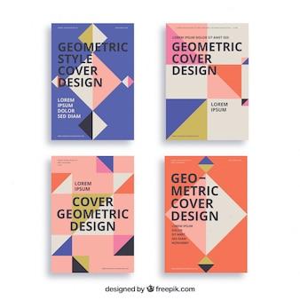 Plantillas de portadas abstractas con diseño geométrico