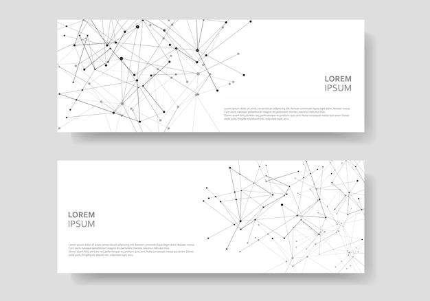 Plantillas de portadas abstractas fondo geométrico moderno con puntos y líneas conectadas
