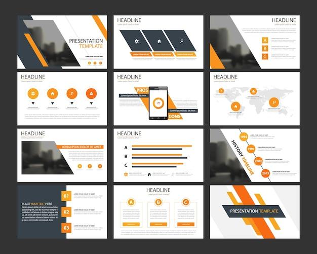 Plantillas de presentación abstracta naranja infografía