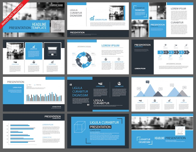 Plantillas de presentación azul y fondo de elementos de infografía.