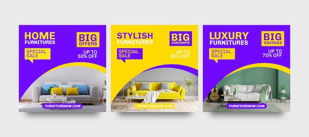 Plantillas de publicaciones de instagram de venta de muebles grandes