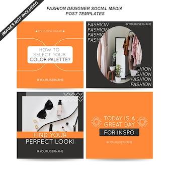 Plantillas de publicaciones de redes sociales de diseñador de moda
