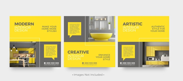Plantillas de publicaciones de redes sociales de diseño de interiores moderno