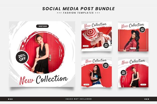 Plantillas de publicaciones de redes sociales de moda de pincel minimalista