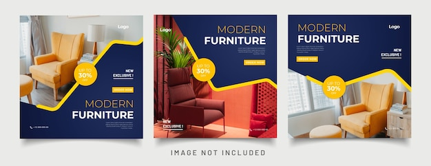 Plantillas de publicaciones de redes sociales de muebles