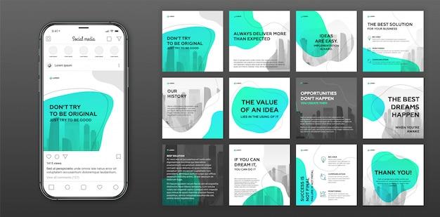 Plantillas de publicaciones en redes sociales con paisaje urbano