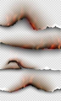 Plantillas de quema de diseño transparente papel rasgado con fuego.