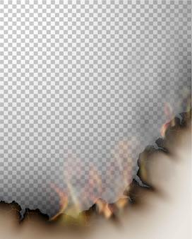 Plantillas de quema de diseño transparente papel rasgado con fuego