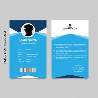 Plantillas de tarjeta de identificación de empleado azul de geometría mínima