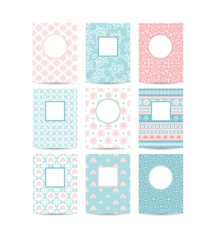 Plantillas de tarjeta romántica rosa y azul