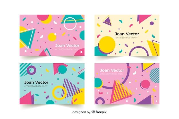 Plantillas de tarjeta de visita en estilo memphis