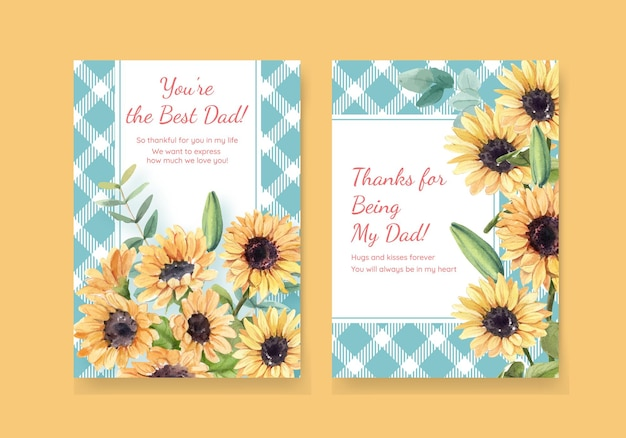 Plantillas de tarjetas de agradecimiento con el concepto del día del padre en estilo acuarela