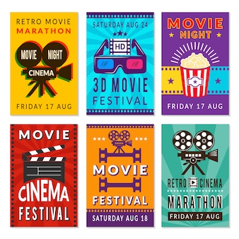 Plantillas de tarjetas de cine. varias tarjetas de cine