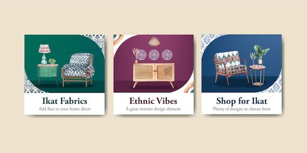 Plantillas de tarjetas con concepto ikat en estilo acuarela